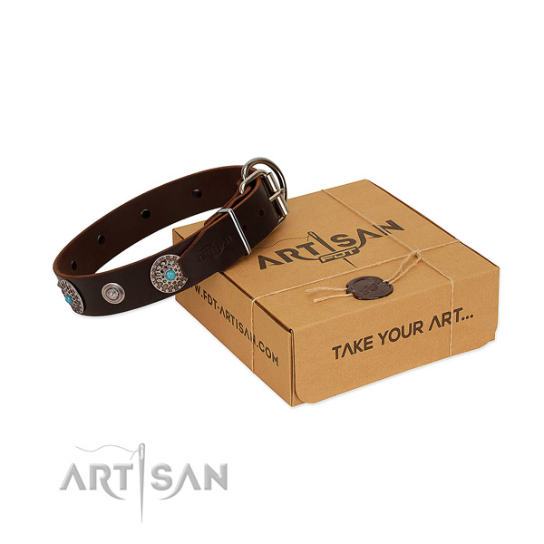 Comfortable wearing reliable leather dog collar with studs