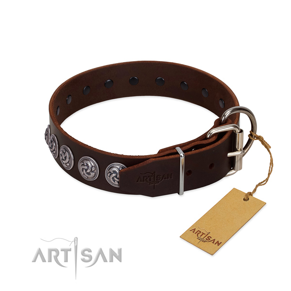 Rust resistant D-ring on stylish design full grain natural leather dog collar