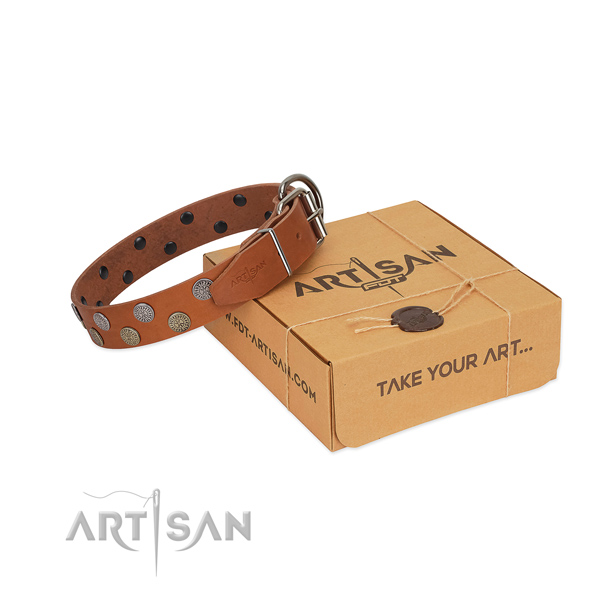 Top notch decorated full grain genuine leather dog collar for walking