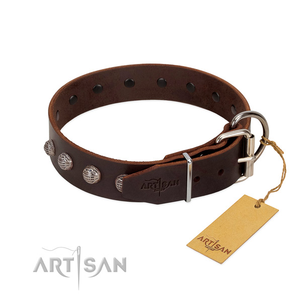Full grain genuine leather dog collar of top notch material with amazing decorations