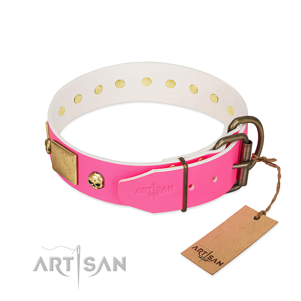 Strong natural leather dog collar with rust-proof decorations