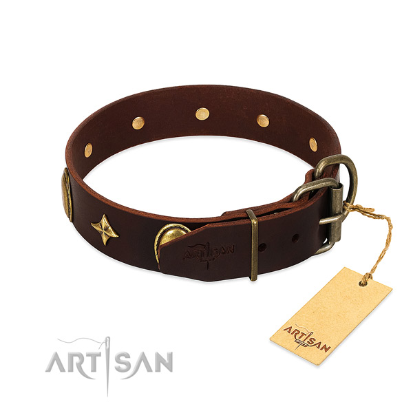 Flexible genuine leather dog collar with designer decorations