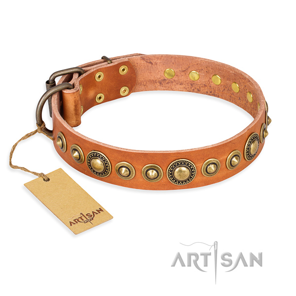 Quality natural genuine leather collar crafted for your canine