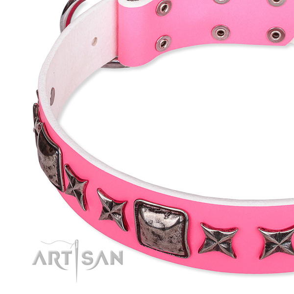 Handy use embellished dog collar of fine quality full grain natural leather