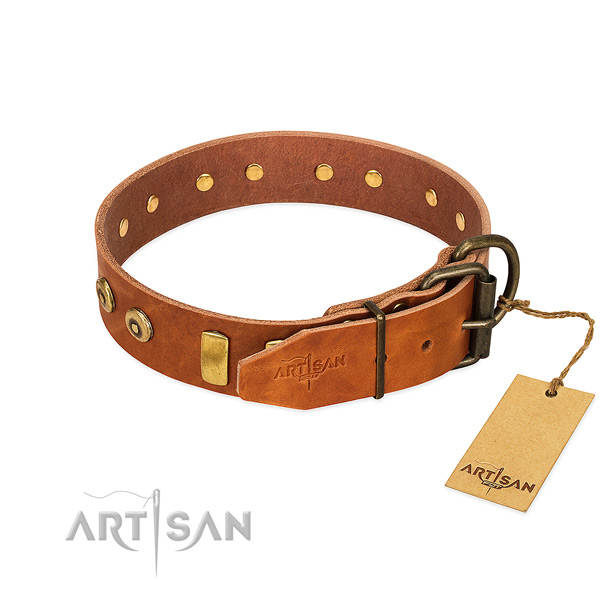 Amazing adorned full grain genuine leather dog collar of quality material