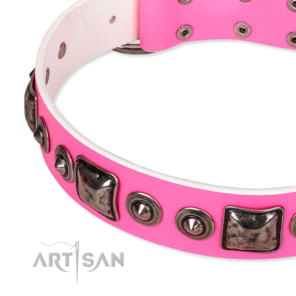 Flexible full grain genuine leather dog collar crafted for your attractive canine