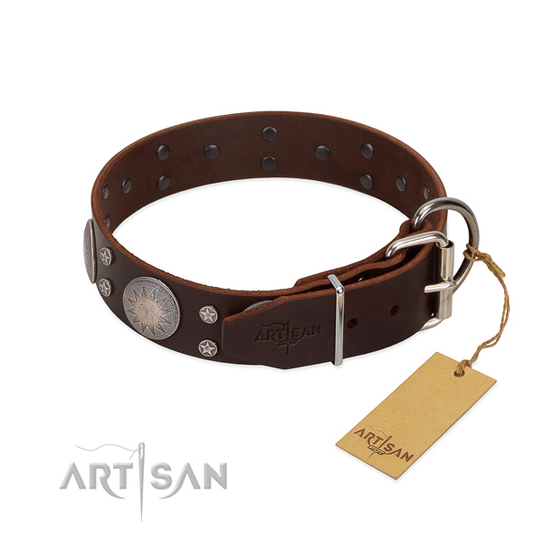 Corrosion resistant buckle on full grain genuine leather dog collar for easy wearing
