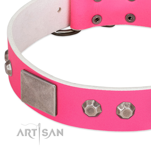 Flexible full grain genuine leather dog collar with studs