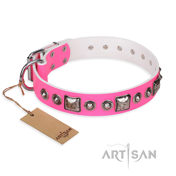 Leather dog collar made of gentle to touch material with corrosion proof hardware