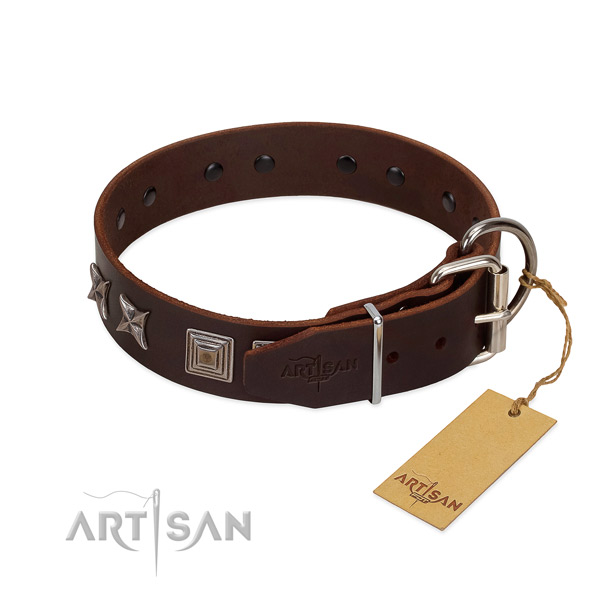 Full grain leather dog collar with top notch decorations for your doggie