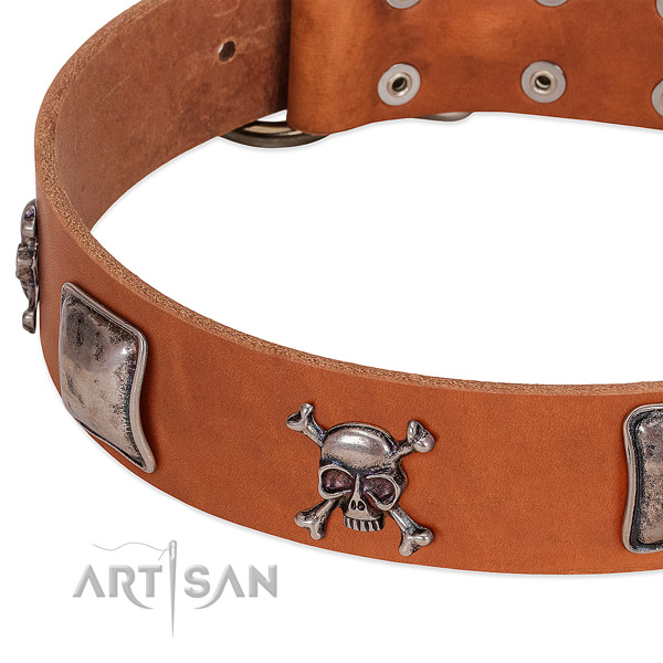 Corrosion proof decorations on genuine leather dog collar
