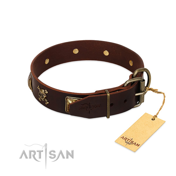 Best quality natural leather dog collar with stylish studs