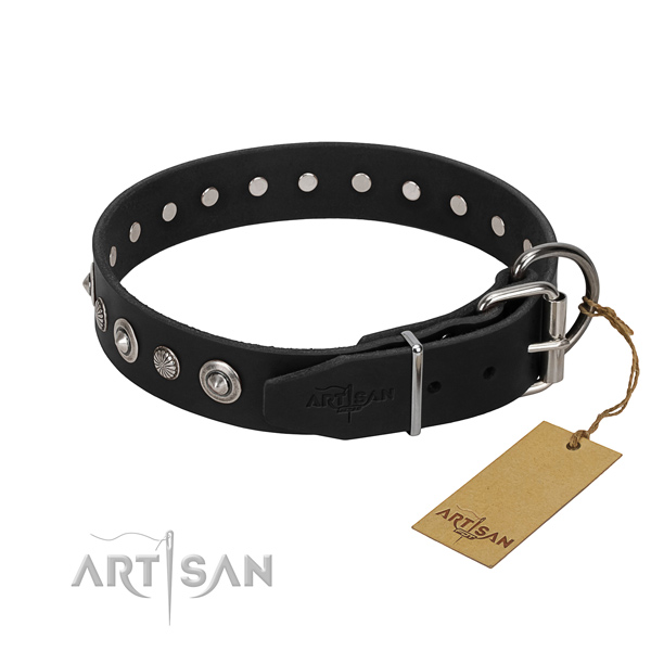 High quality leather dog collar with remarkable decorations