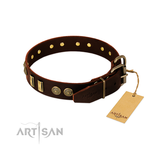 Corrosion resistant studs on full grain leather dog collar for your pet