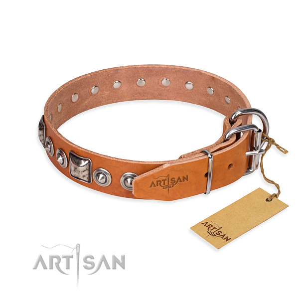 Full grain genuine leather dog collar made of best quality material with corrosion resistant decorations