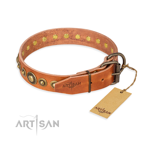 High quality full grain genuine leather dog collar created for handy use