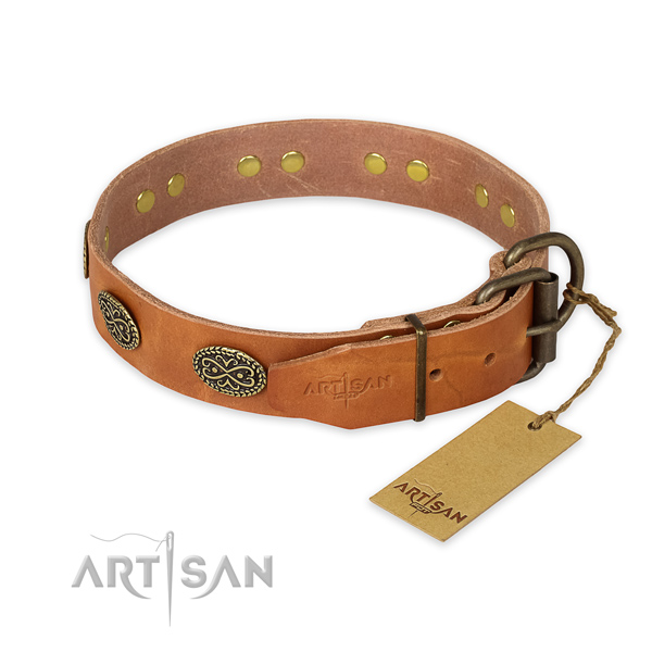 Rust-proof buckle on full grain natural leather collar for your stylish pet