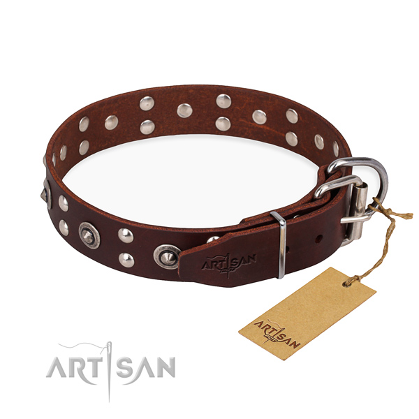 Strong fittings on genuine leather collar for your beautiful four-legged friend