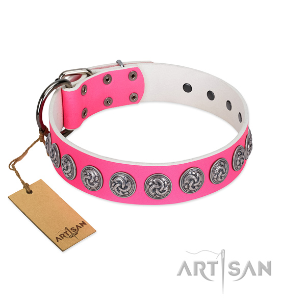 Soft to touch genuine leather dog collar for your lovely four-legged friend