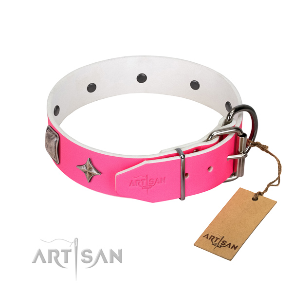 Reliable genuine leather dog collar with adornments for easy wearing