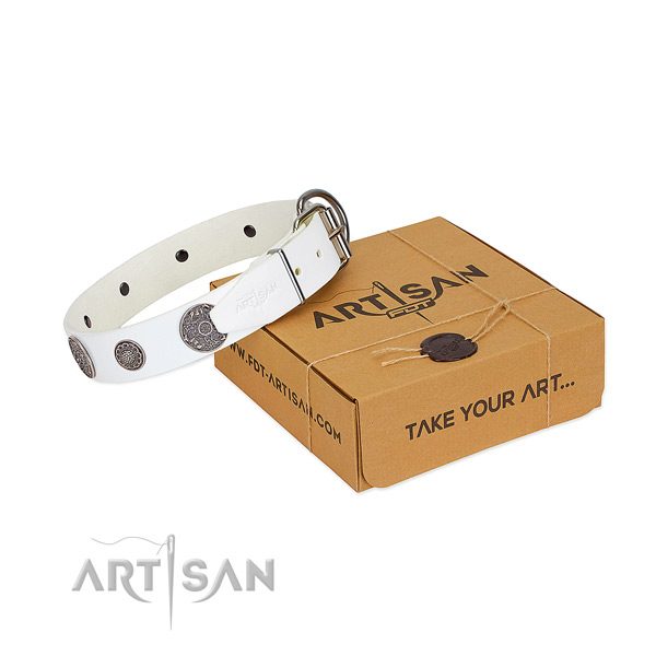 Inimitable dog collar of full grain natural leather
