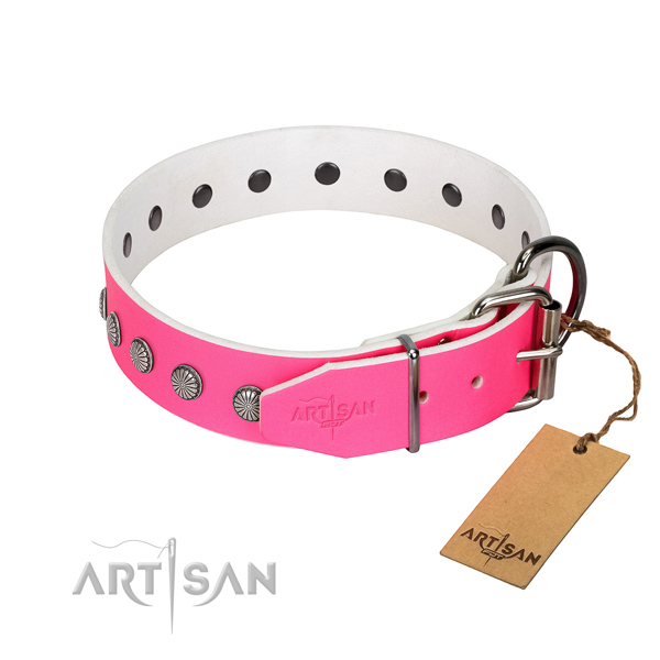 High quality full grain genuine leather dog collar with decorations for your handsome doggie