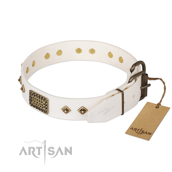 Full grain genuine leather dog collar with strong traditional buckle and embellishments