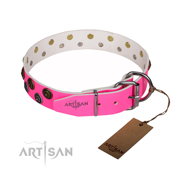 Comfy wearing adorned dog collar of top quality full grain genuine leather