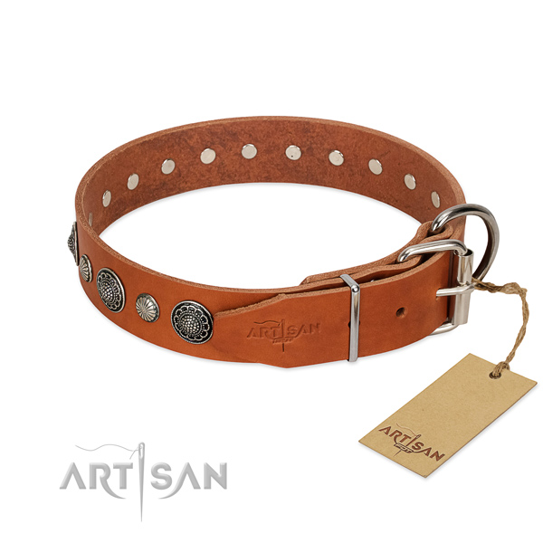 Top rate genuine leather dog collar with rust-proof hardware