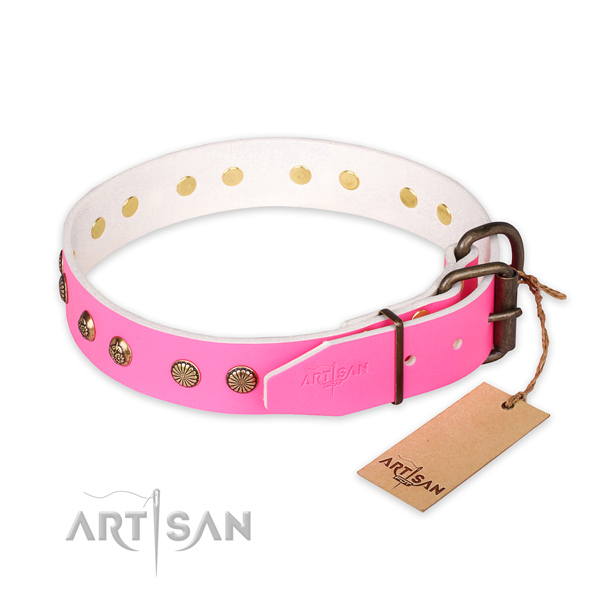 Rust resistant hardware on leather collar for your stylish pet
