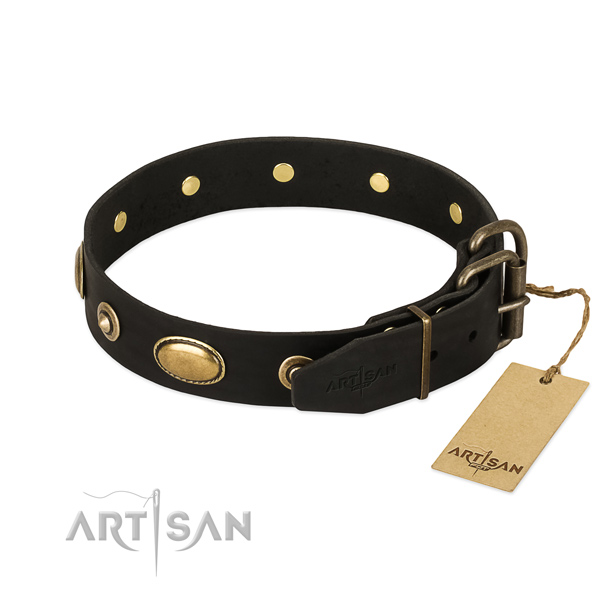 Durable hardware on full grain leather dog collar for your pet