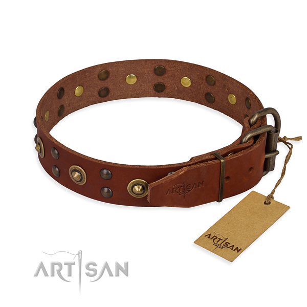 Reliable buckle on full grain natural leather collar for your beautiful doggie