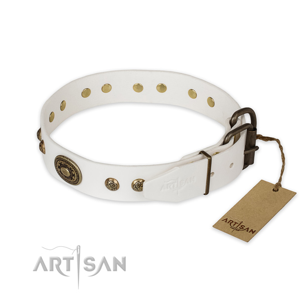 Durable fittings on genuine leather collar for basic training your dog