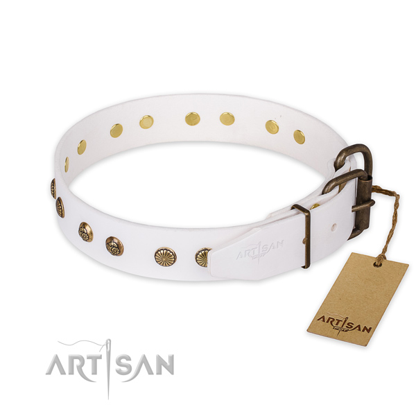 Rust resistant traditional buckle on full grain genuine leather collar for your handsome dog