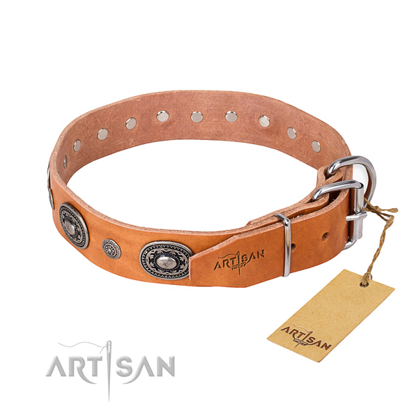 Flexible genuine leather dog collar handcrafted for basic training