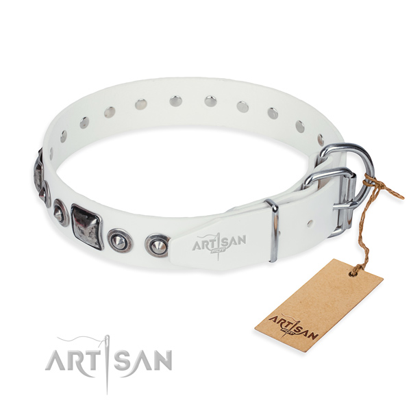 Strong full grain leather dog collar handmade for handy use
