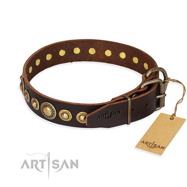 Reliable natural genuine leather dog collar handcrafted for easy wearing