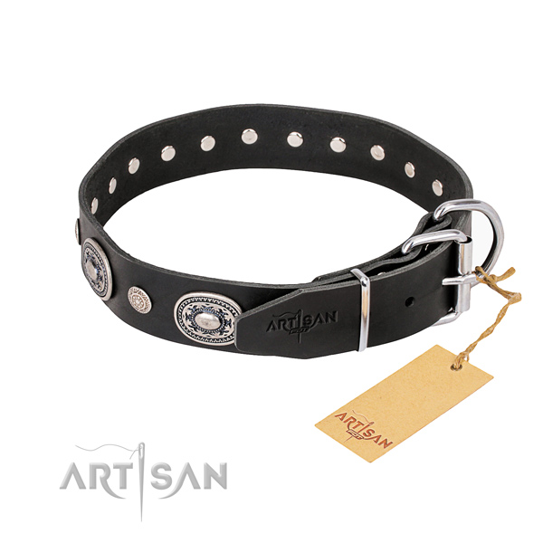 Best quality full grain genuine leather dog collar created for easy wearing