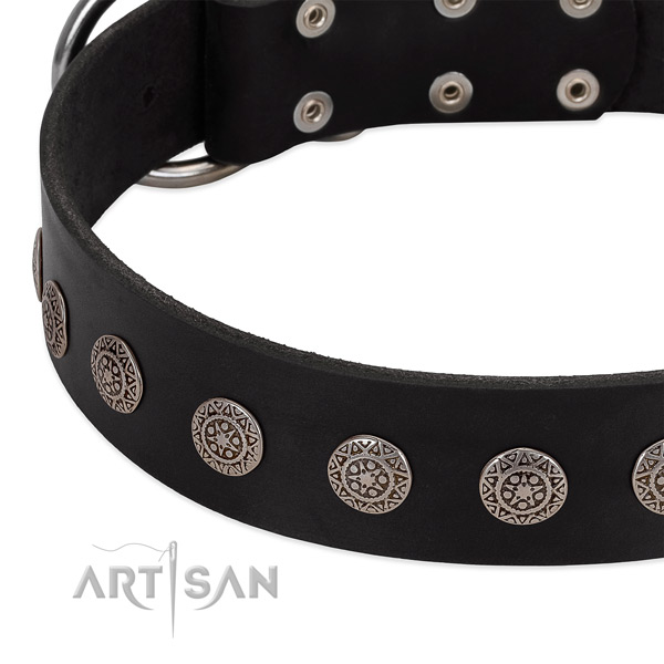 Fine quality dog collar of genuine leather with embellishments