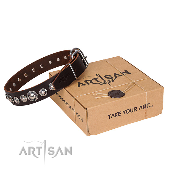 Fine quality natural leather dog collar