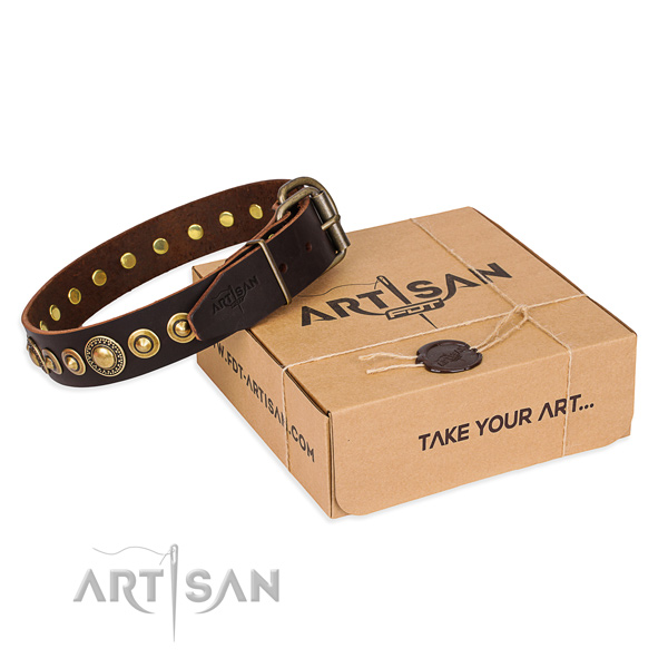 Soft natural genuine leather dog collar created for easy wearing
