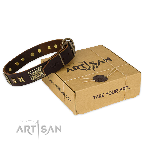 Corrosion proof buckle on natural genuine leather collar for your attractive pet