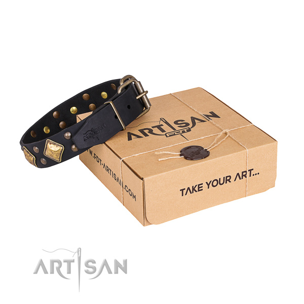 Handy use dog collar with Fashionable rust resistant decorations