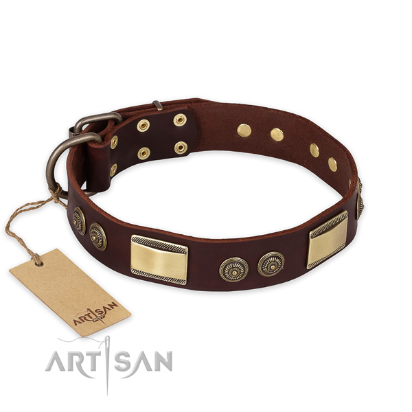 Easy adjustable full grain natural leather dog collar for daily walking
