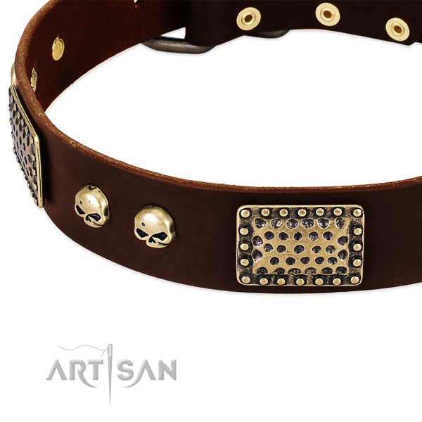Rust-proof decorations on genuine leather dog collar for your doggie