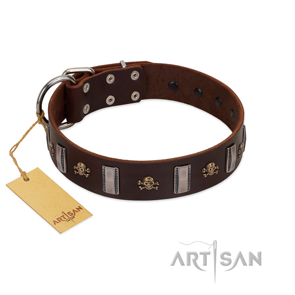 Genuine leather dog collar with trendy decorations for your canine