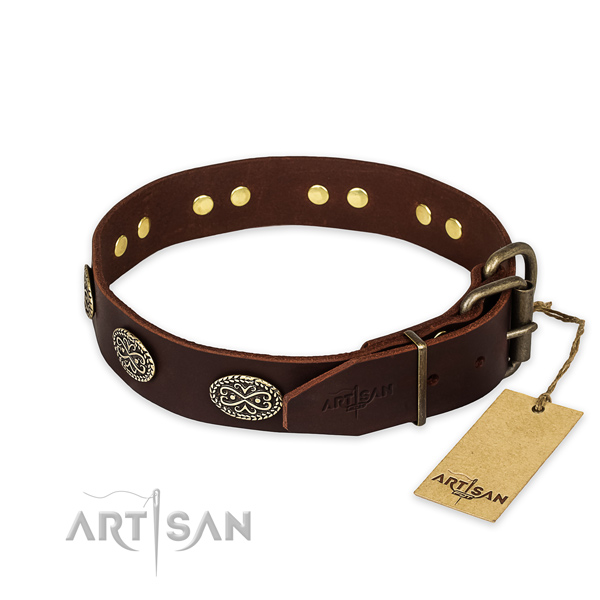 Reliable fittings on full grain leather collar for your impressive canine