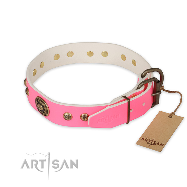 Rust-proof hardware on natural genuine leather collar for stylish walking your canine