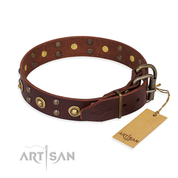 Rust resistant fittings on genuine leather collar for your impressive four-legged friend