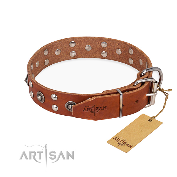 Corrosion resistant traditional buckle on genuine leather collar for your handsome doggie